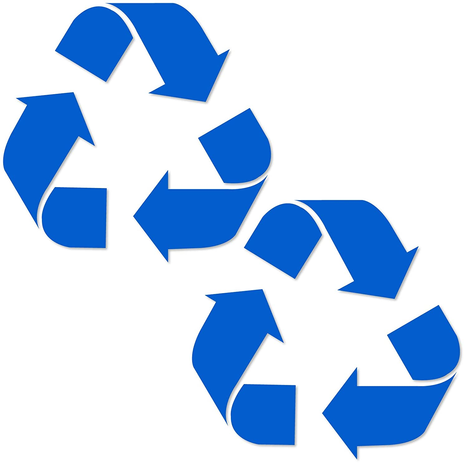 Vinyl Friend Recycle Symbol Sticker Decal (7in x 7in 2 Pack) to Organize Trash cans or Garbage containers and Walls -Countour Cut - Medium Blue Sticker