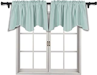 SUO AI TEXTILE Scalloped Blackout Window Valance Rod Pocket Curtain Valances Blackout Short Curtains,42x18 Inch,Mint Green,2 Panels