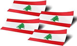 Lebanon 4 Pack of 4 Inch Wide Country Flag Stickers Decal for Window Laptop Computer Vinyl Car Bumper Scrapbook Lebanese 4