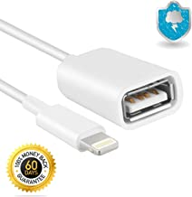 [60 Day Warranty] Cell Phone (8p) to USB Female Adapter Cable for Phone 7/7 Plus/6/6 Plus/5s/5c/5/4s/4,Pad and Pod White