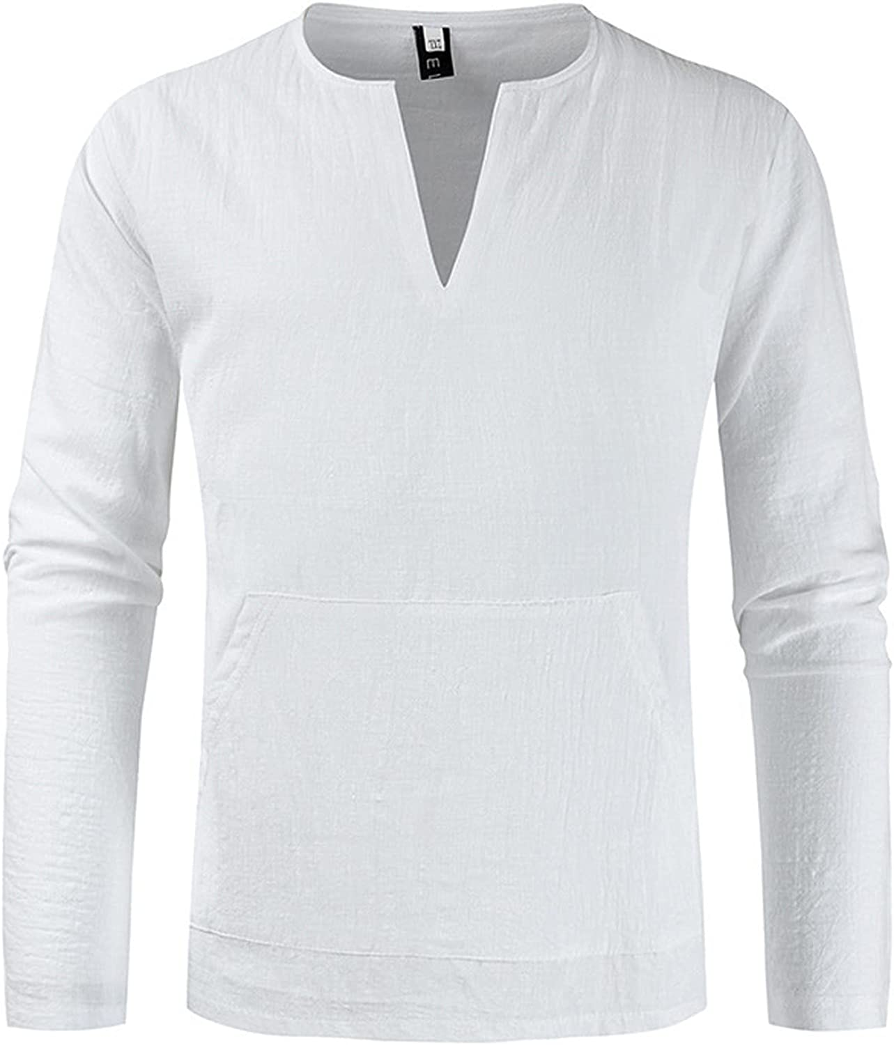V-Neck Shirts for Mens Long Sleeve Slim Fit Cotton Linen Casual Beach Breathable Fashion Summer Solid Top