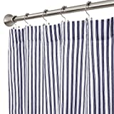 Cackleberry Home Navy Blue and White Ticking Stripe Woven Cotton Shower Curtain 72 Inches W x 72 Inches L