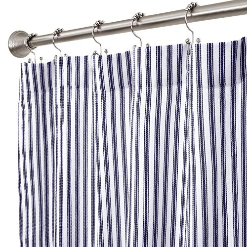 Cackleberry Home Navy Blue and White Ticking Stripe Woven Cotton Shower Curtain Extra Long 72 Inches W x 84 Inches L