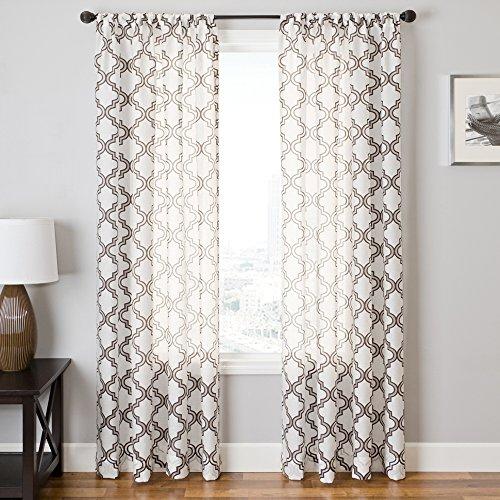 Softline Home Fashions Fenster-Vorhang mit Stangentasche Traditionell Chocolate/White 139,7 x 213,4 cm