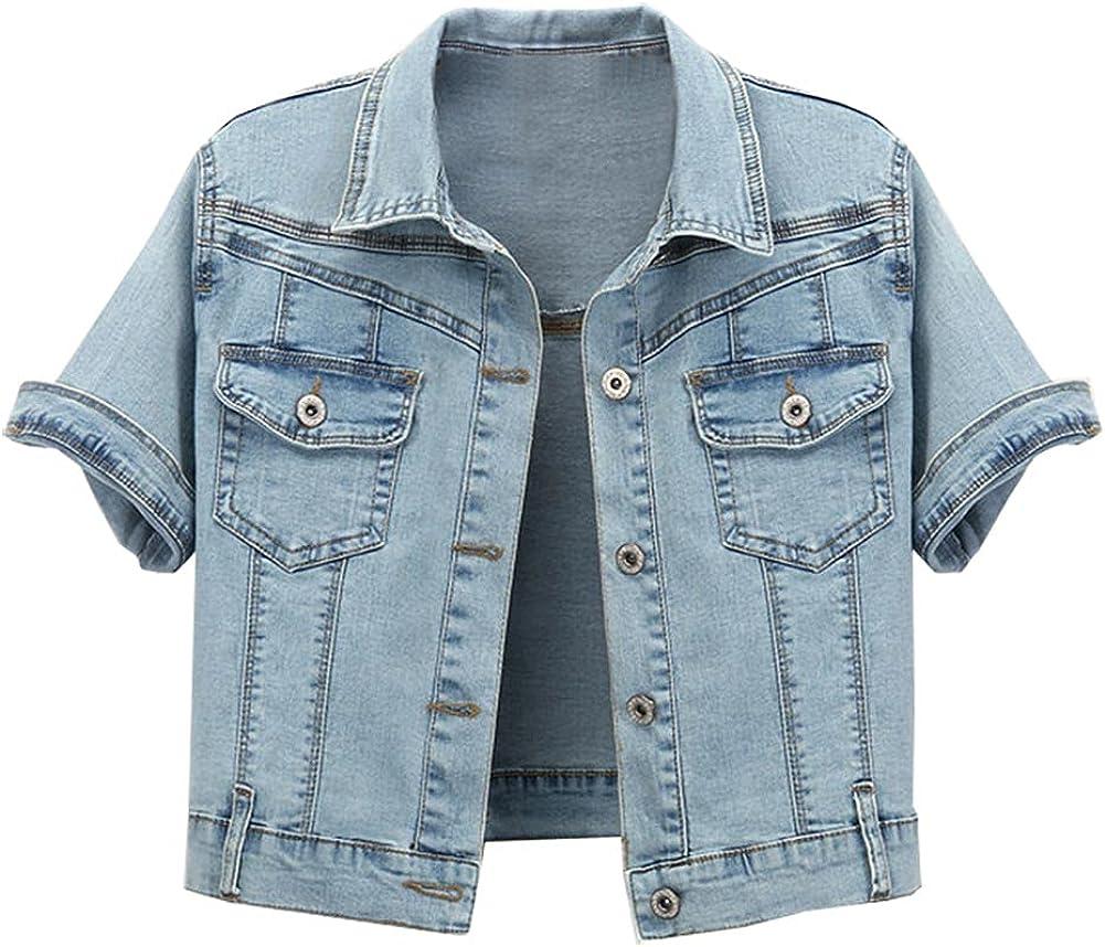Kedera Women's Short Sleeve Retro Crop Denim Jackets Light Blue Jean Coats