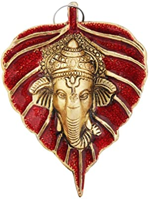Handicrafts Paradise Metal Wall Hanging Red Leaf Shaped with Ganesha Face Motiff 3.75 X 5 Inch