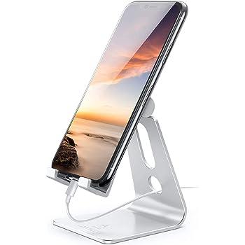 Soporte Celular, Lamicall Ajustable Soportes de Celulares : Soporte Dock Base Holder para Móvil iPhone 12, 11 Pro, X Xs Max 8 7 6 Plus, Samsung Galaxy s20 s10 s9 s8 Plus A71 A51 A10 edge, Huawei Xiaomi 10 de escritorio -Plata