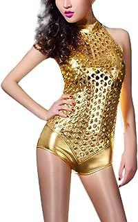 Body Donna Senza Maniche Nero Da Ginnastica Tuta elastici GIROCOLLO STRETCH Shiny