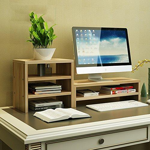 Floating shelves Wooden Panel Computer Monitor Raised Shelf, Bedroom Office Table Rack/Partition Shelves, Assembly (Color : 1#)
