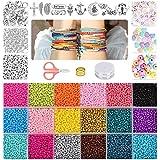 Cozywind 24000+ Piezas Cuentas de Colores, 24 Colores Mini Cuentas de Cristal con Caja de Almacenamiento, Cuentas de Vidrio para Bisutería Collar Pendientes Pulseras para Niños y Adultas (2mm)