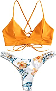 Women Braided Straps Lace Up Bikini Set Bralette Swimsuit Flower Bathing Suit