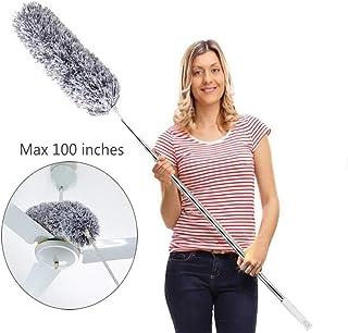 Sahalo Plumero de Microfibra, Plumero Cabezal Flexible Mango telescópico Extensible Cepillo para Limpiar el Ventilador de Techo Muebles para Teclado