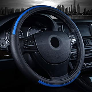 Labbyway Car Steering Wheel Cover Microfiber Leather Universal 15-inch,Anti-Slip,Odorless,Four Seasons Universal (Blue)