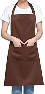 Two Pockets Adjustable Bib Adult Apron - Extra Long Ties - Heavy duty kitchen apron, Money apron, Waitresses apron - Cooking Kitchen Aprons for Women (29.5