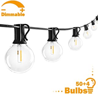 Mlambert 50FT G40 LED Globe Patio String Lights with 54 LED Clear Bulbs, Waterproof Dimmable Edison Bulb String Lights, Outdoor Indoor Cafe Lights Bistro Lights Room Lights for Pergola Tents Gazebo
