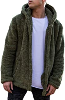 Nicetage Mens Fuzzy Sherpa Fleece Hoodie Lightweight Jacket Open Front Cardigans Coat with Pockets