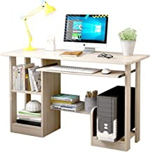 120 * 48 Home Office Computer Desk Study Writing Desk with Wooden Storage Shelf, Laptop Table with Keyboard Tray/Computer ...