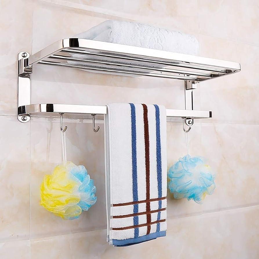 証人親サラミDongy 浴室の棚ステンレススチールフレーム折りたたみタオル、歯ブラシカートリッジホルダー化粧仕上げフレーム洗面棚の配置オプション仕様のバスルームの棚をスタンド (Size : 50*24.5*17.5CM)