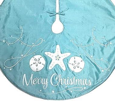 Teal Merry Christmas Tree Skirt, Coastal Beach Themed Xmas Decorations, Reusable Festive Holiday Decoration, 42 Inches