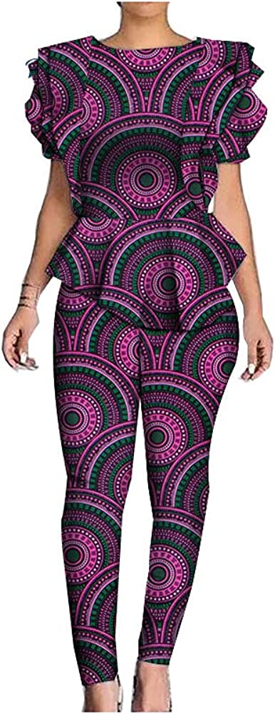 BAZINRICHE African Woman Print Top and Pants Sets Ruffles Shirts 2 Pieces Suits Outfit