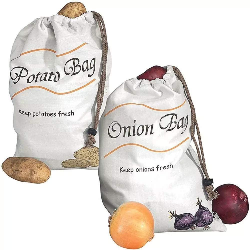Reusable 35% OFF Produce Storage 2021 model Bags 2 Vegetable Pack Potato Onion