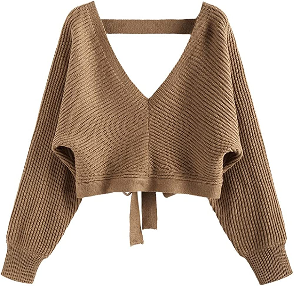ZAFUL Women's Plunging V Neck Tie Back Ribbed Sweater Batwing Long Sleeve Jumper Wrap Belted Ruffle Pullover Top