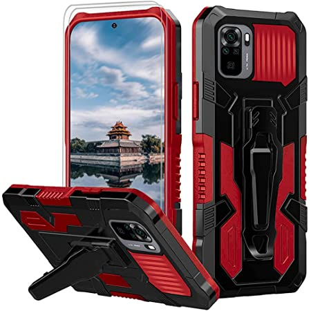 for Xiaomi Redmi Note 10 4G/Redmi Note 10S Case with [2 Pack] Tempered Glass Screen Protector Rugged Hybrid Dual Layer Military-Grade Phone Cover Case with Belt Clip for Redmi Note 10 4G Case -RED