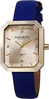 Akribos XXIV Women's Blue Classic Swiss Quartz Diamond Rectangular Watch - Gold Sunburst Effect Dial - Leather over Nunbuck Leather Strap - AK749