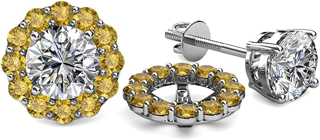 TriJewels Citrine Halo Jacket for Stud Earrings 0.72 ct tw in 14K White Gold