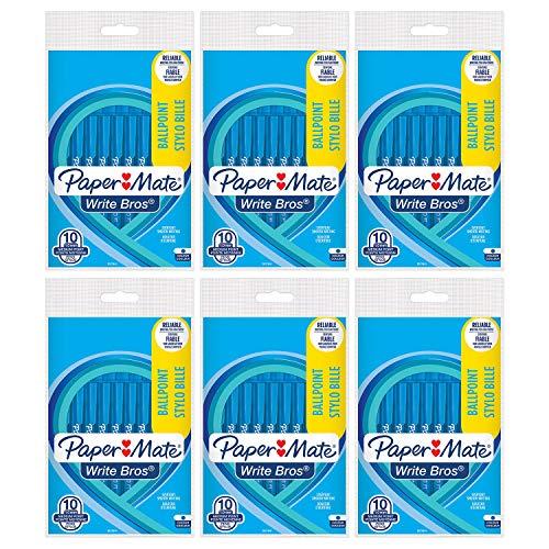 Sanford Paper Mate escribir Bros. STICK DE punta media bolígrafos, azul Paquete de 60bolígrafos (6x 10ct paquetes)