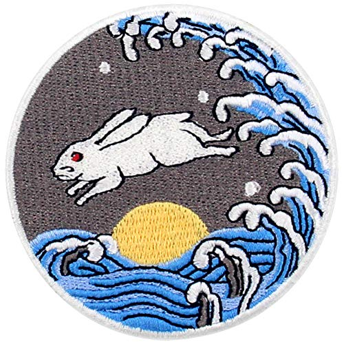 ZEGINs RABIT with The Moon Rise Sea Patch Embroidered Applique Iron On Sew On Emblem