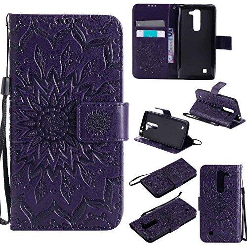 pinlu® PU Leder Tasche Etui Schutzhülle für LG G4c(5zoll)/LG Magna Lederhülle Schale Flip Cover Tasche mit Standfunktion Sonnenblume Muster Hülle (Lila)