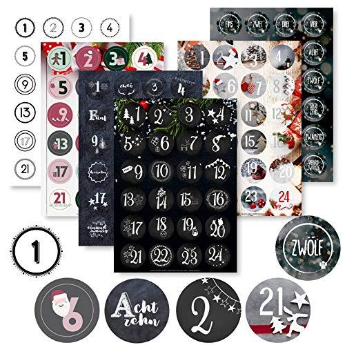 Adventskalender Aufkleber Set (Zahlen 1-24) - 6 x 24 Sticker für Kalender zum selber basteln für Weihnachten - Adventskalenderzahlen Etiketten selbstklebend - Zahlenaufkleber - Nummern Papiertüten