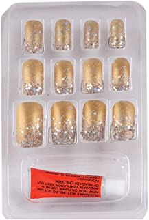 Color Fever False Nails - Quick Stick Artificial Nail Set with Glue, (Gold) 12 pc Set