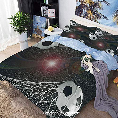 Soefipok 3-teiliges Bett-Bettbezug-Set, Fußballtor-Match-Erfolgskonzept im Weltraum-Sieger-Ruhm-Thema, 1 Bettbezug + 2 Kissenbezüge, Mehrfarbig, Bettbezug-Set