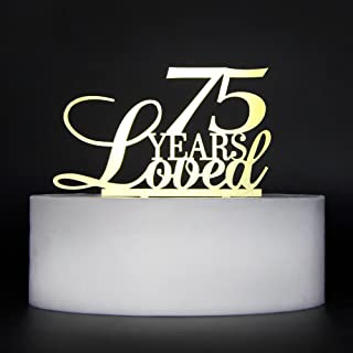 LOVELY BITON Gold 75 Years Loved Cake Topper Shining Numbers Letters for Wedding, Birthday, Anniversary, Party.