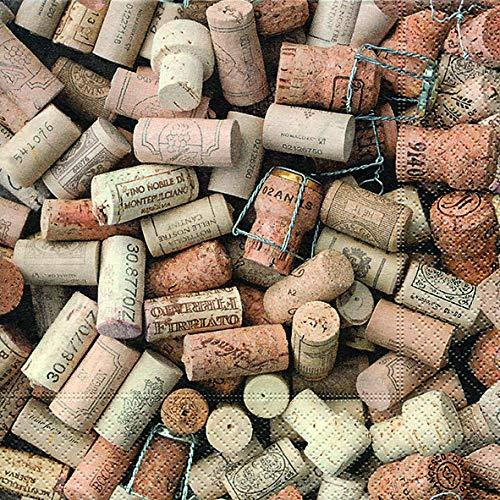 20 Servietten Überall Weinkorken als Tischdeko und zum Basteln mit Decoupage/Serviettentechnik 33x33cm