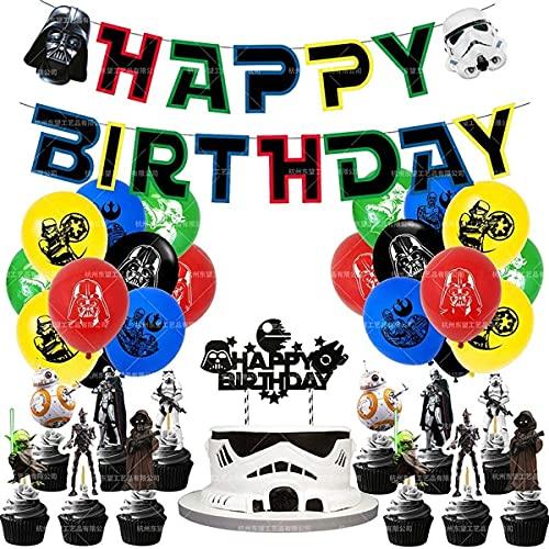 HASAKA 46 piezas de Star Wars decoraciones de fiesta de cumpleaños suministros de película incluyendo 20 globos, 1 paquete de pancartas, 25 unidades de decoraciones para tartas Storm Trooper Art Work
