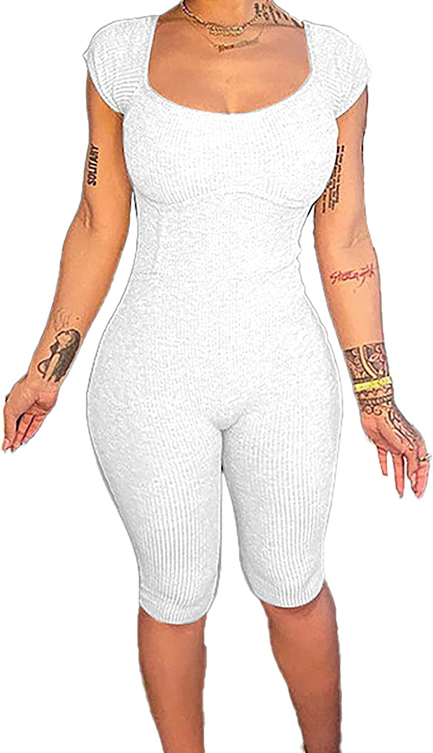 Womens Scoop Neck Ribbed Bodysuits Jumpsuit