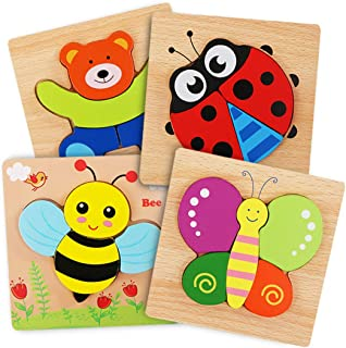Wooden Toddler Puzzles, WOOD CITY Jigsaw Puzzles for Toddlers 1 2 3 Years Old, Educational Toys Gift for Boys and Girls with 4 Pack Animal Pattern