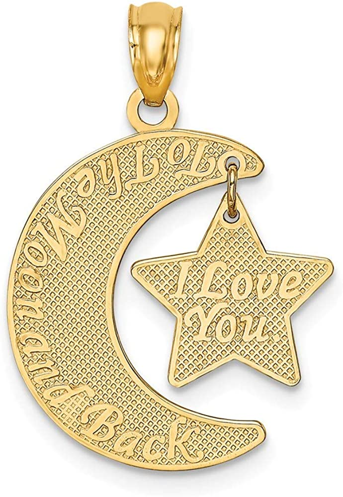 14k Yellow Gold I Love You To Max 49% OFF Popular popular Charm N Back Pendant The Moon Star