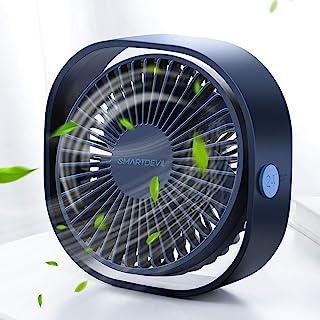 SMARTDEVIL Portable Desk Fan, Small Personal USB Desk Fan, Desktop Table Cooling Fan Powered by USB Fan with 3 Speeds, Strong Wind Fan for Home, Offical, Dormitory,Desktop,Car Outdoor Travel (Blue)