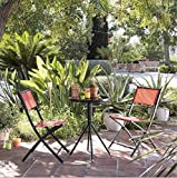 Opulence Trading Sturdy Outdoor Foldable Orange 2 Seat Bistro Set with Round Tempered Glass Table