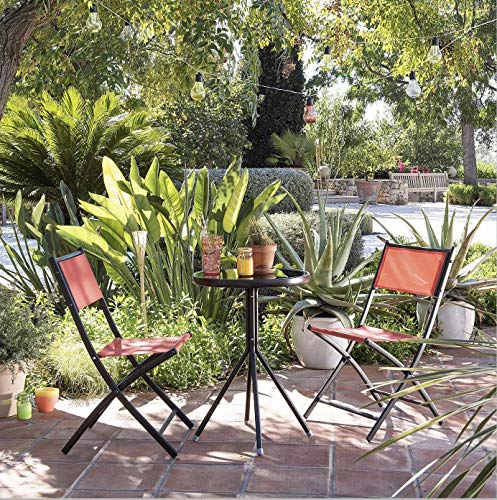 Opulence Trading Bistro-Set für den Außenbereich, robust, zusammenklappbar, mit rundem Tisch aus gehärtetem Glas, Orange