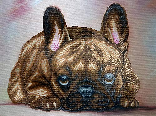 French Bulldog Bead Embroidery Needlepoint Tapestry kit Dog Beaded Cross Stitch Pet Lover DIY Gift idea Beaded Stitching Broderie perlee