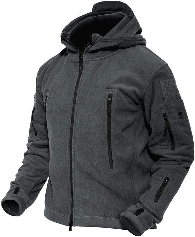 ACOMOO Mens Windproof Warm Tactical Fleece Jacket (Grey XL)