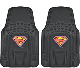 BDK Superman Rubber Car Floor Mats 2 PC Front Heavy Duty All Weather Protection - Trimmable To fit - WBMT-1672_AMHD, Black