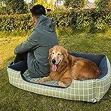 HANHAN - Cuccia per cani extra large in vimini, per 2 cani anziani, quadrato, piatto, comodo e confortevole, taglia XXL, XL, materasso soffice, lavabile, anti-ansia, divano ortopedico medio