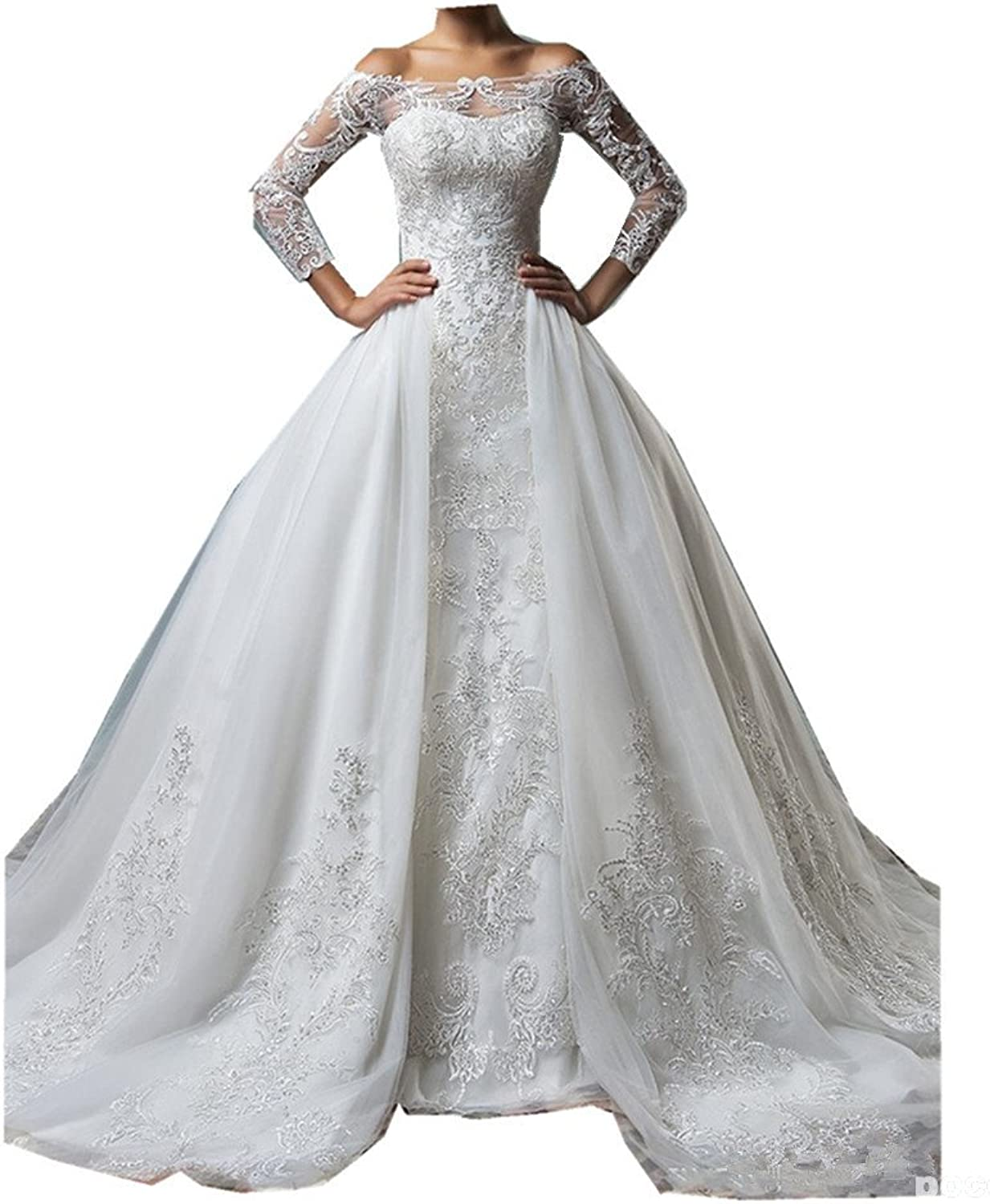 Uryouthstyle Aline Wedding Dresses Lace Court Train Bridal Gowns