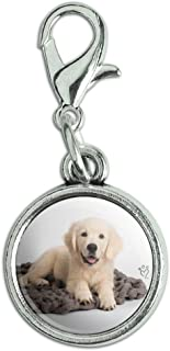 Golden Retriever Puppy Dog Knotty Blanket Antiqued Bracelet Pendant Zipper Pull Charm with Lobster Clasp